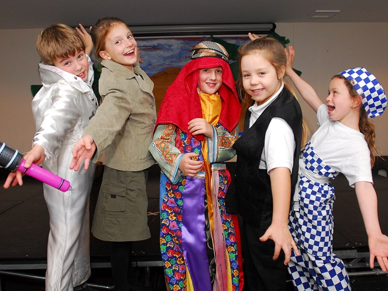 From left, Jordon Sheeke, Bella Wright, Aiden Mitchell, Phebe Seaward and Chyayne Clark in the school production of Joseph.
