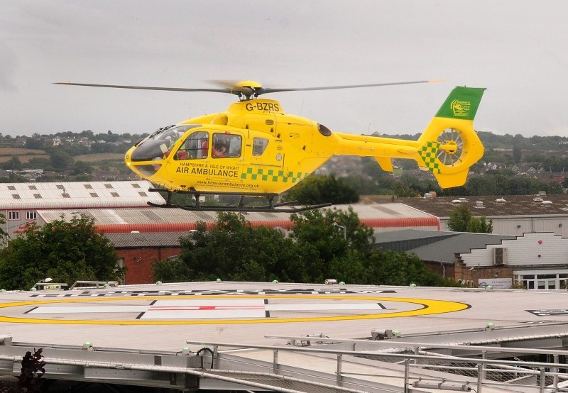 The Hampshire and Isle of Wight Air Ambulance regularly lands at St Mary's Hospital's helipad.