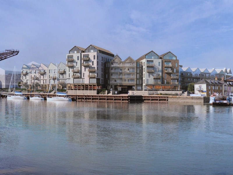 An artists impression of the Medina Yard development in Cowes.