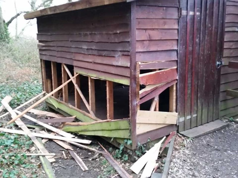 The bird hide at Yarmouth, which was vandalised.