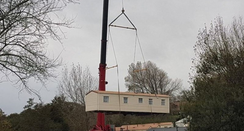 Caravans have been craned out of Rookley Country Park. Photo by Gloria Grant.