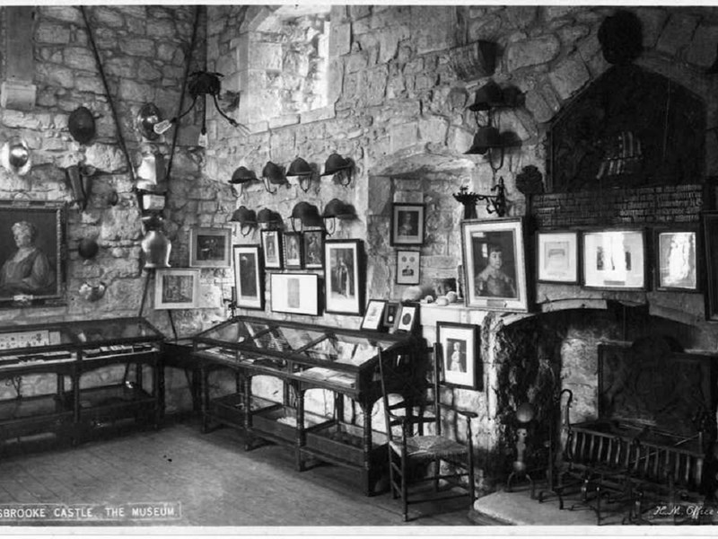 An early picture of the museum, when it was in the drum tower of the castle gatehouse.