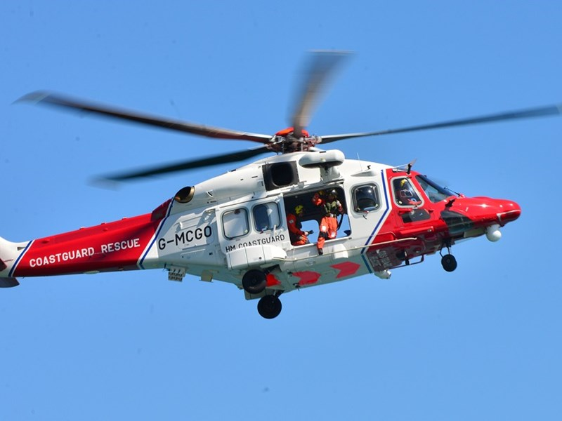 The man was airlifted by the UK Coastguard helicopter.