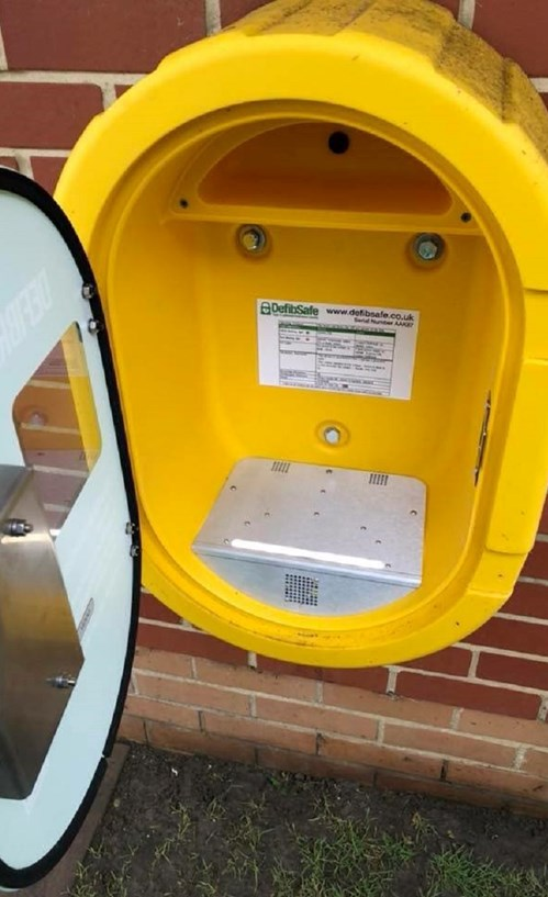 The box from which the defibrillator was stolen.
