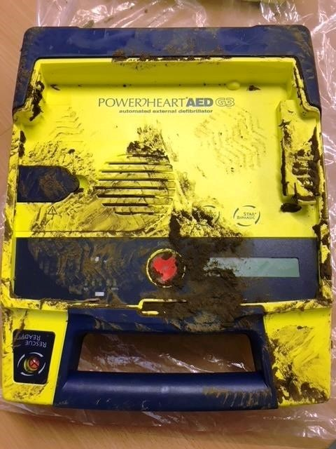 The damaged defibrillator. Photo by Isle of Wight NHS Trust Ambulance Service.