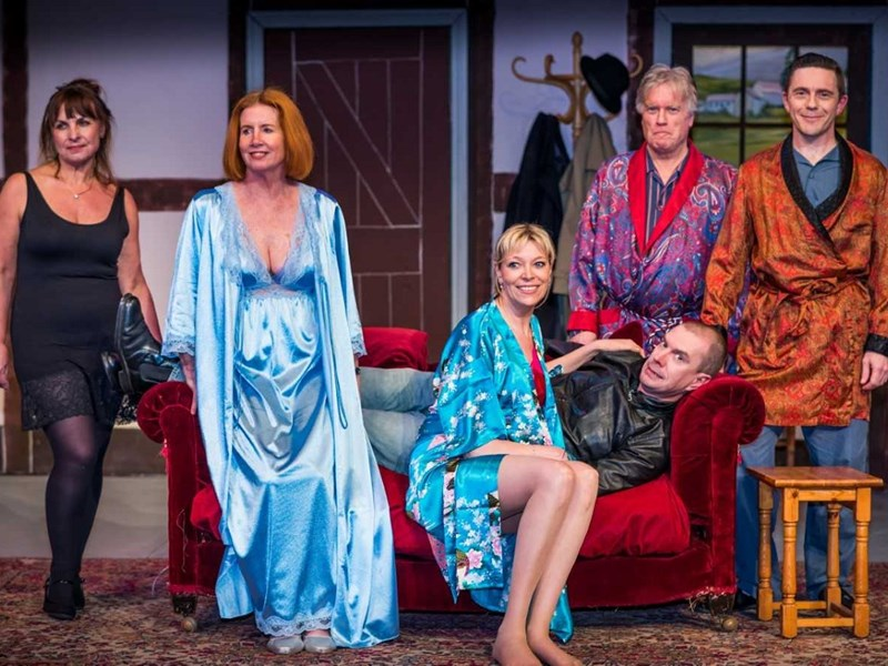 From left, Rose Kelsey, Chris Turvey, Nessa Law, John Abraham (on sofa), Steve Taverner and Pete Harris in the Apollo's Don't Dress For Dinner. Picture by Ian Johnston