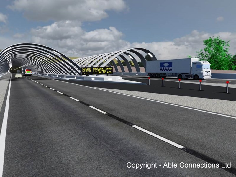 Able Connections image of how the entrance to the Isle of Wight fixed link 'Solent Freedom Tunnel' could look.