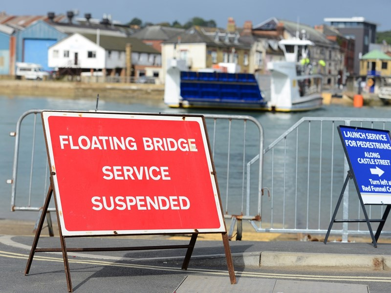 The floating bridge will not be operating at low tides.