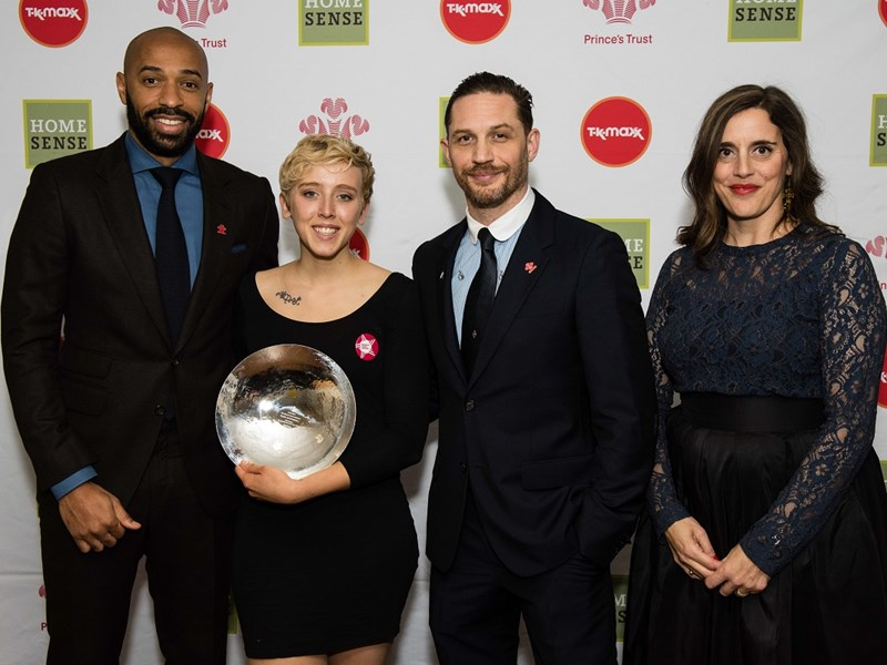 Footballer Thierry Henry, UKSA student Daisy McDonnell, actor Tom Hardy and Deborah Dolce from sponsor TK Maxx.