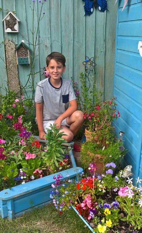 Lucas Richards in his garden.