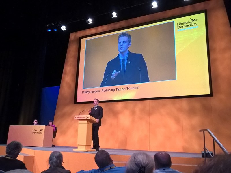 Isle of Wight Lib Dem parliamentary candidate Nicholas Belfitt, speaking at national party conference