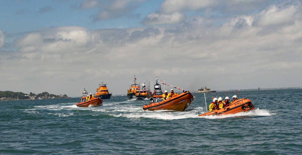 The fleet of inshore lifeboats.