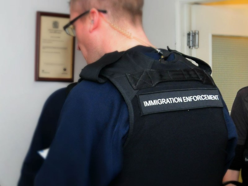 Immigration officers raided businesses in Cowes.