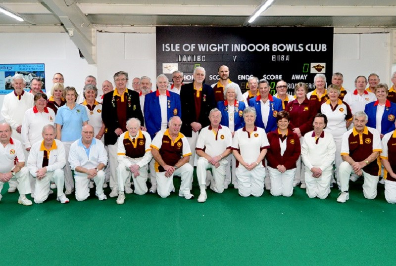 IW Indoor Bowls Club 50th anniversary tournament. Members alongside visiting English Bowling Association opponents. Pictures: Robin Crossley