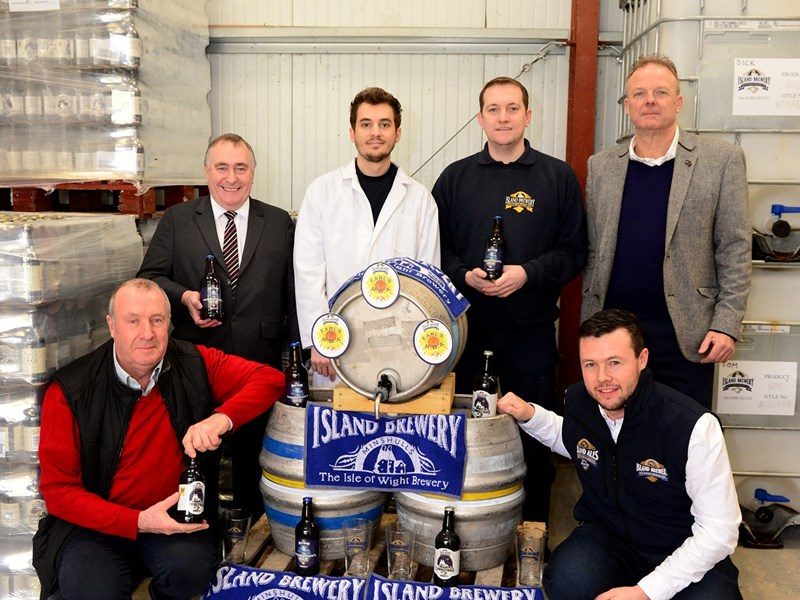 Island Brewery also celebrated a recent CAMRA win. Pictured: Stephen Minshull, Oliver Minshull, Chris Batchelor, Ashley Coleman, Tom Leman and Chris Mousley.