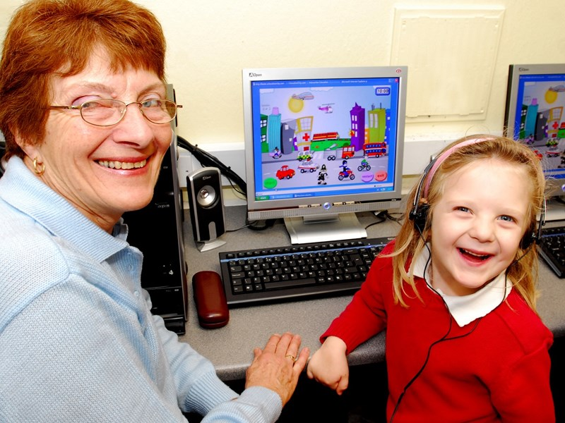 Ten years ago: Jessie Hayles, five, with her grandma Pat Hayles at an IT day at Weston Community School, Totland.