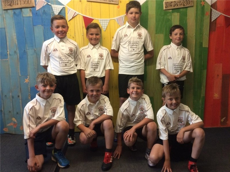 Broadlea Primary School, Lake, under-tens cricket team sporting their new shirts, sponsored by Shanklin Holiday Homes. Back, from left, Callum and Harvey Chambers, Kiaran Lowe and Alfie Tonks. Front, Ryan Morris, Taylor Westmore, George Fletcher and Alfie Middlemiss. 