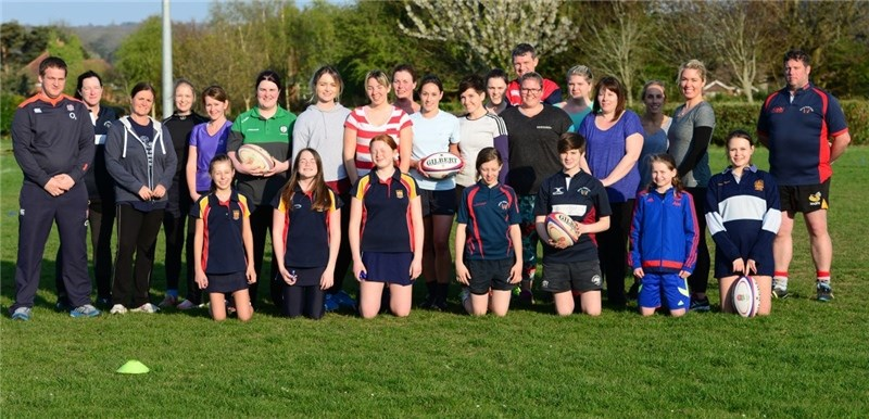 Wootton RecLadies Rugby with England RFU coachLeft Josh Barlow England RFU Community Rugby Coach for the Isle of Wight with Oli Boulter behind and Nathan Tombleson on the right