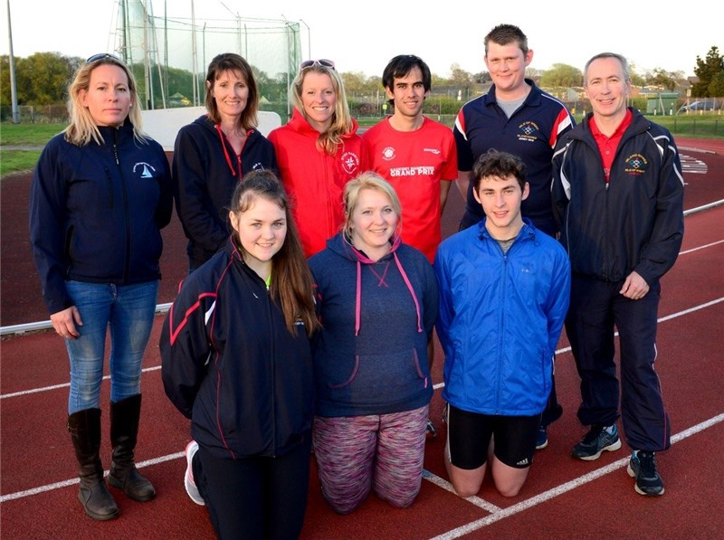 The Island Games athletics team. Front, from left, Wallis Canning, Amy Clarke and Charlie Button. Back, Esme Connelly, of Cowes Chiropractic Clinic, Trish Train, Charlie Metcalfe, Dan Eckersley, Dave Clarke and Nick Groocock.