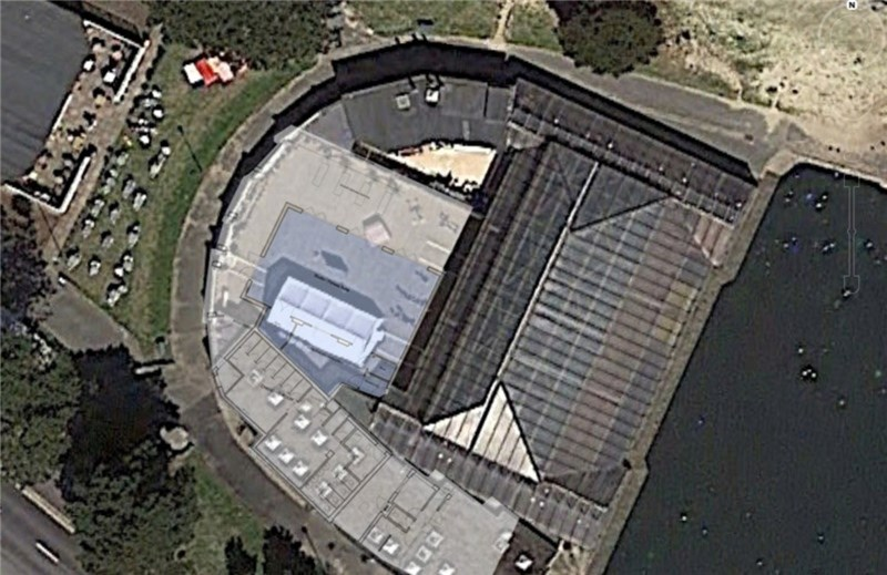 An aerial view of the Waterside Pool at Ryde, with the new gym being built in the grey area.