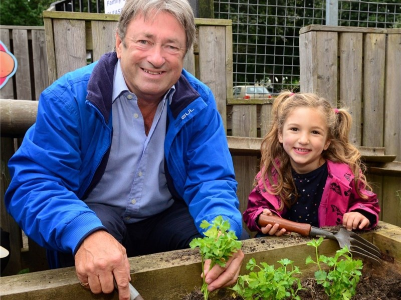Alan Titchmarsh planting at West Newport Family Centre with Lissy Salloum, five.