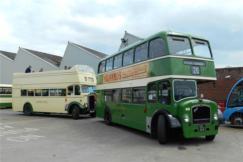 Former Southern Vectis double deckers SDL268 and DDL50 at the IW Bus and Coach Museum, which a certificate of excellence from TripAdvisor.