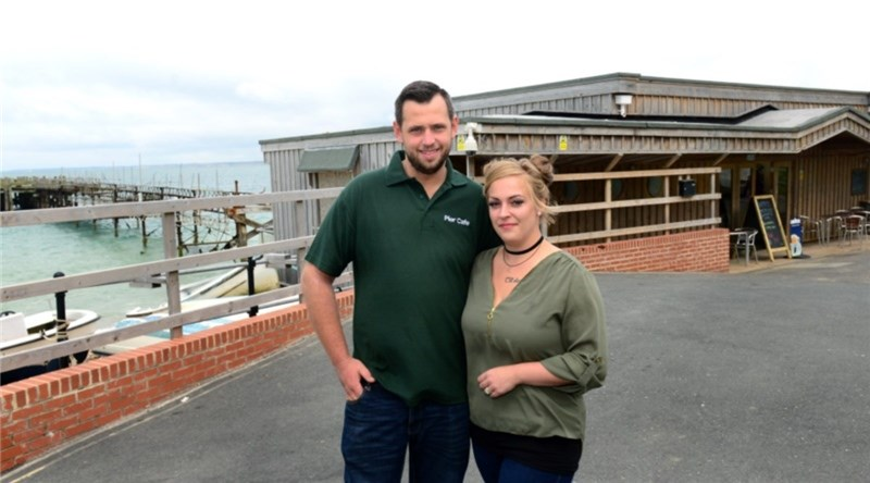 Totland Pier Cafe's new owners, Michael and Gemma Barrett. Picture by Robin Crossley.