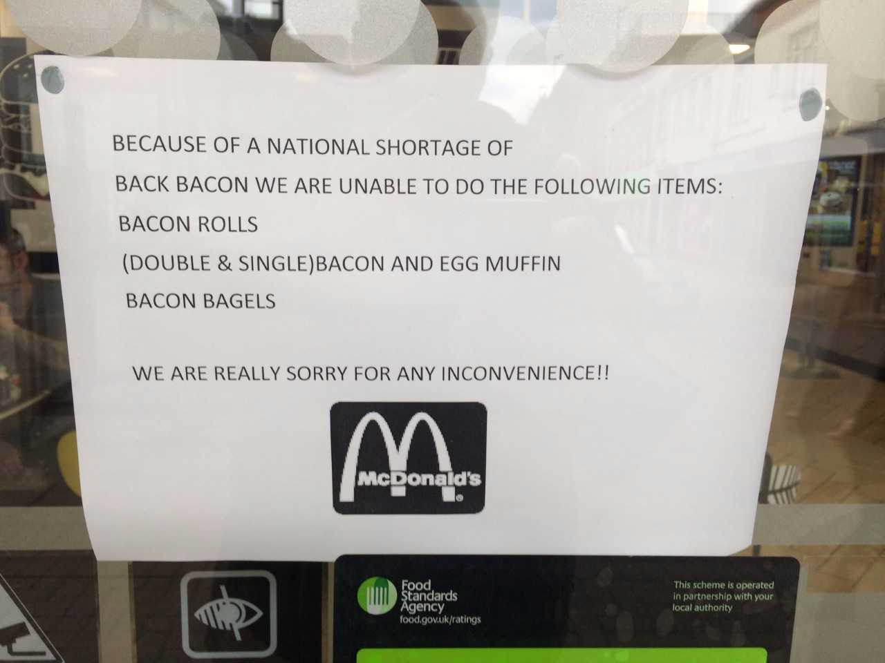 McDonald's no bacon