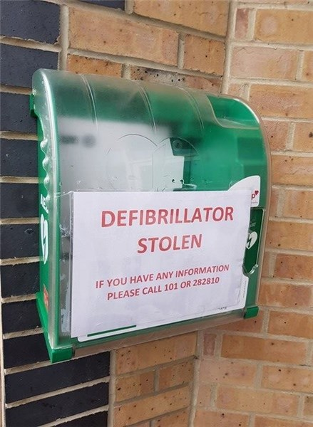 A defibrillator has been stolen from outside Cowes Chiropractic Clinic.