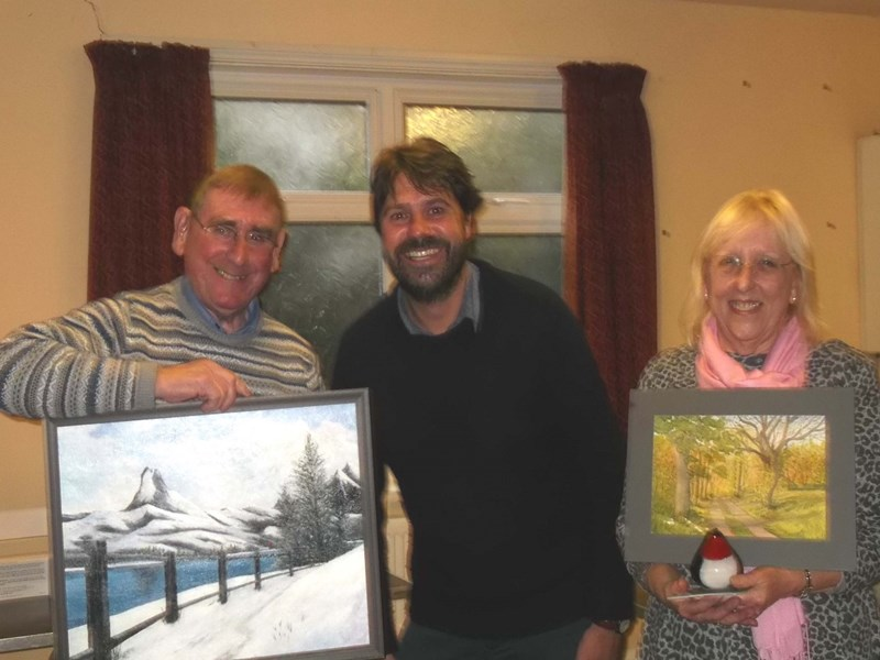 The Black Cat Art Group Christmas competition. From left, Joint winners David Brown and Jan Toft, with competition judge, Toby Beardsall (centre), of Beardsall's stationers, Shanklin. 