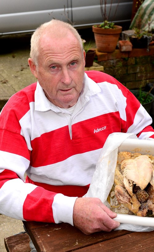 David Tombleson with the chicken he bought from Lidl.