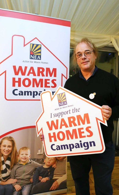 Ray Harrington-Vail, from The Footprint Trust, is backing NEA'S Warm Home Campaign.