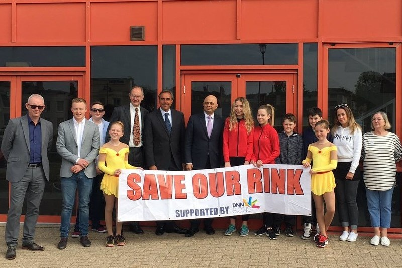 Sajid Javid (centre) met with Ryde ice rink campaigners on a visit to the Isle of Wight. Picture by K Elliott.