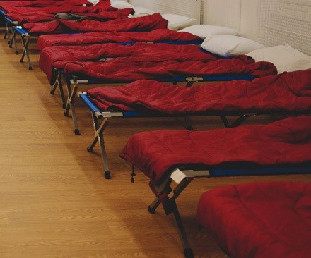 Salvation Army beds for homeless people.