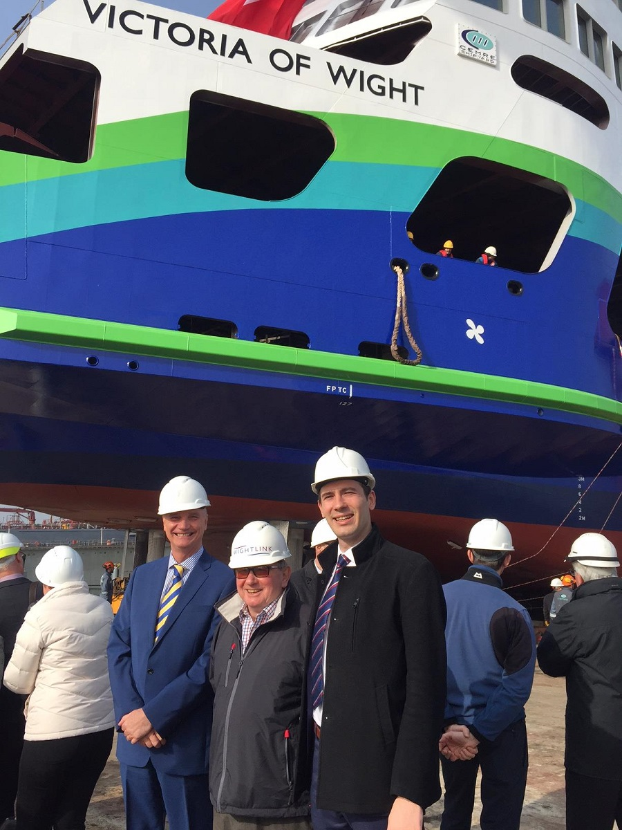 Wightlink's John Burrows and project manager Colin Stanton with Cemre's project engineer Orhun Savas